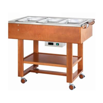 Carrello in legno per bolliti e arrosti con vasca in acciaio inox 304. Colore Noce. CL2770N - Forcar Multiservice