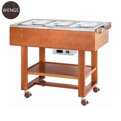 Carrello in legno per bolliti e arrosti con vasca in acciaio inox 304. colore Wengè. CL2770NW - Forcar Multiservice