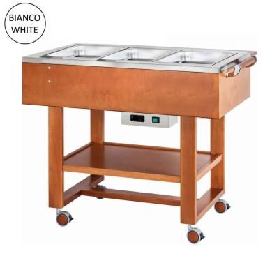 Carrello in legno per bolliti e arrosti con vasca in acciaio inox 304. Colore Bianco. CL2770NB - Forcar Multiservice