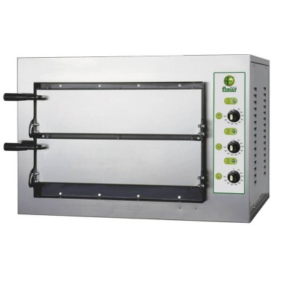 2 chambers stainless steel pizza oven with refractory top and 4 thermostats. Mini Series - Fimar