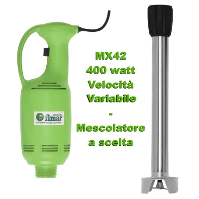 Professional variable speed immersion mixer and optional whip. 400 W vertical handle, Green. Series MX42 - MX4...