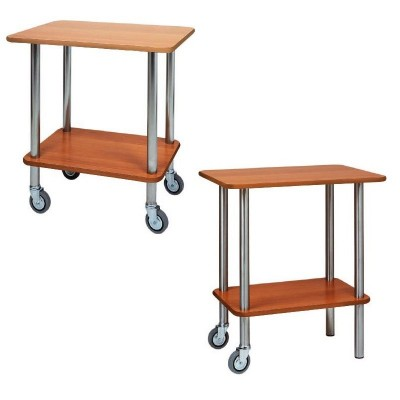 Trolley gueridon two floors 70x50 cm wood. 2 or 4 wheels. Stainless steel structure -