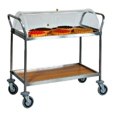 Trolley for desserts, cheese and appetizers Width 90cm. Stainless steel and wooden top. Plexiglas dome. - Forcar