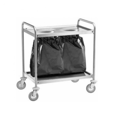 Stainless steel service trolley with holes for waste bags. Width 110 cm.
