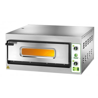 Electric stainless steel pizza oven with refractory top. FES series from 4 to 8 pizzas