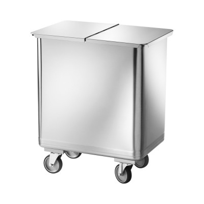 Hopper with wheels, made of stainless steel with removable cover - Forcar
