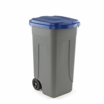 Pattumiera in polietilene con coperchio colorato per raccolta differenziata. 100 litri. AV4682