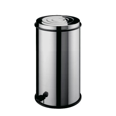 Dustbin round stainless steel with pedal and basket - Forcar