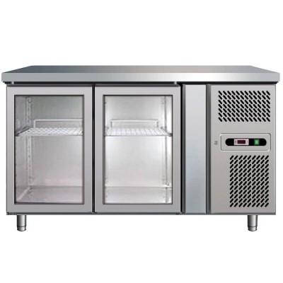 Stainless steel fridge table with 2 glass doors 2/8 °C - Forcar