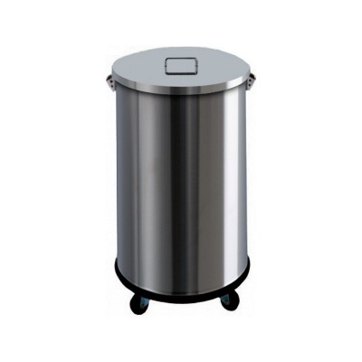 63 litre stainless steel dustbin with wheels without pedal. AV4671 - Forcar