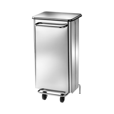 Rectangular stainless steel dustbin with 2 wheels and lid opening pedal - Forcar