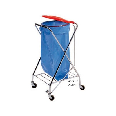 Bag trolley with X-shaped structure. round attachment and plastic lid. - Forcar
