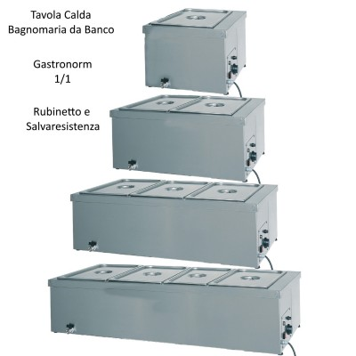 Hot GN 1/1-the-counter in a bain-marie in stainless steel with thermostat and single faucet. - Forcar