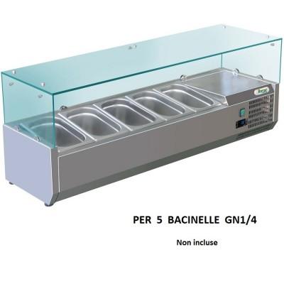 Vetrina refrigerata porta ingredienti Forcar RI12033V 120x33 cm per 5 gastronorm GN 1/4. - Forcar Refrigerati