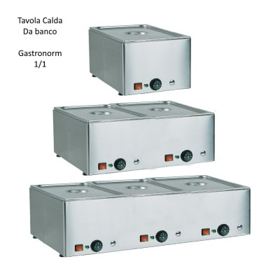 Hot GN 1/1 counter, stainless steel with different temperatures. - Forcar