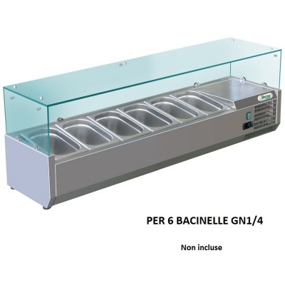 Showcase portaingredienti chilled 140x33 cm stainless steel, for 6 GN containers 1/4. RI14033V - Forcar