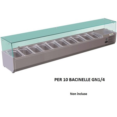 Showcase portaingredienti chilled 200x33 cm in stainless steel for 10 gastronorm pans GN 1/4. RI20033V - Forcar