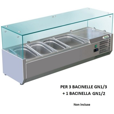 Showcase portaingredienti chilled 120x38 cm in stainless steel for 3 containers GN 1/3 + 1 GN 1/2. RI12038V - Forcar
