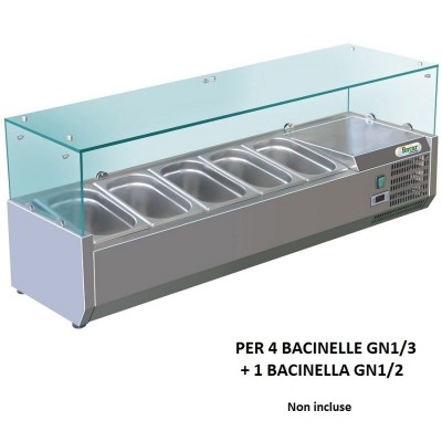 Showcase portaingredienti chilled 140x38 cm in stainless steel for 4 trays GN1/3 + in GN 1/2. RI14038V - Forcar