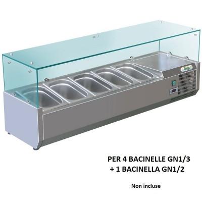 Vetrina refrigerata porta ingredienti Forcar RI14038V 140x38 cm per 4 bacinelle GN1/3 + a bacinella GN 1/2. - Forcar Refrigerati