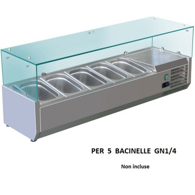 Refrigerated display case for 120x33 AISI201 stainless steel for 5 GN 1/4 basins. VRX1200-330-FC - Forcold