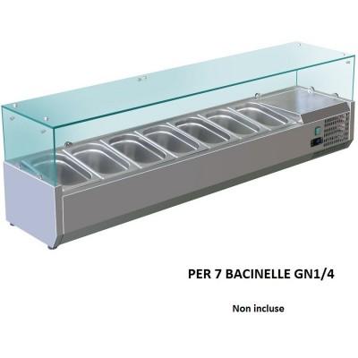 Vetrina refrigerata portaingredienti 150x33 inox AISI201 per 7 bacinelle GN 1/4. VRX1500-33-FC - Forcold