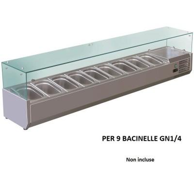 Vetrina refrigerata portaingredienti 180x33 inox AISI201 per 9 bacinelle GN 1/4. VRX18033-FC - Forcold