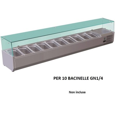 Refrigerated 200x33 cm stainless steel display case for 10 GN1/4 gastronorm trays. VRX2000-33-FC - Forcold