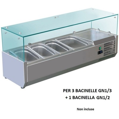 Refrigerated display case for 120x380 AISI201 stainless steel for 3 GN 1/3 1 basin GN 1/2. VRX1200-38-FC - Forcold