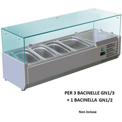 Vetrina refrigerata portaingredienti 120x380 inox AISI201 per 3 bacinelle GN 1/3 + 1 bacinella GN 1/2. VRX1200-38-FC - Forcold