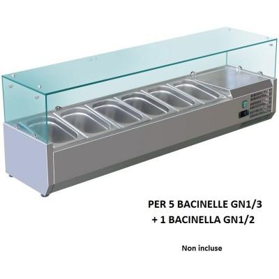 Vetrina refrigerata portaingredienti 150x38 inox AISI201 per 5 bacinelle GN 1/3 + a bacinella GN 1/2. VRX1500-38-FC - Forcold
