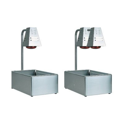 Tavola calda GN 1/1 da banco con una o due lampade infrarossi da 250W. struttura in acciaio inox. - Forcar