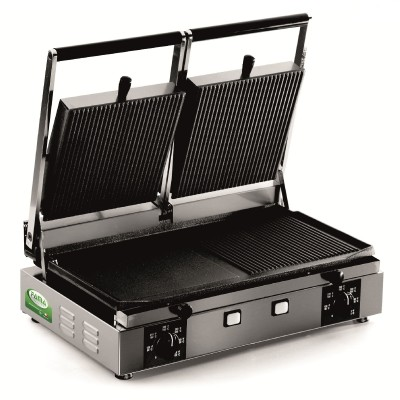 Double electric grill with cast iron plates and mixed surfaces. Model: PDR3000S - Fama industrie