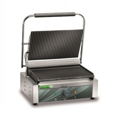Cast iron plate with smooth or grooved surface and grill with thermostat. - Fame industries