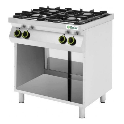 Professional kitchen with 4 gas burners, max power: 19 kw. Model: CC74G - Fimar