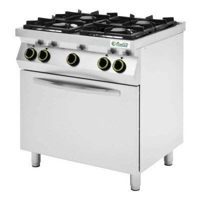 Professional kitchen with 4 gas burners and electric oven. Model: CC74GFEV - Fimar
