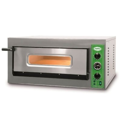 Professional stainless steel pizza oven with glass and refractory bottom - Fama industrie