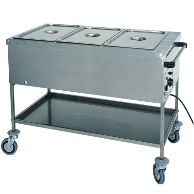 Hot bain-marie display trolley for gastronorm 1/1 tanks. Series: CT - Forcar