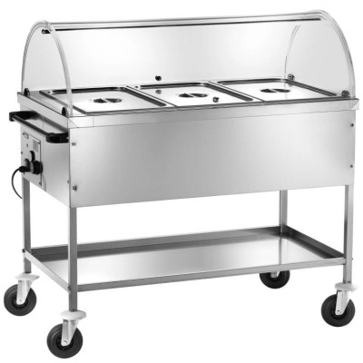Hot bain-marie display trolley with differentiated temperature and dome. Model: CT1760C - Forcar