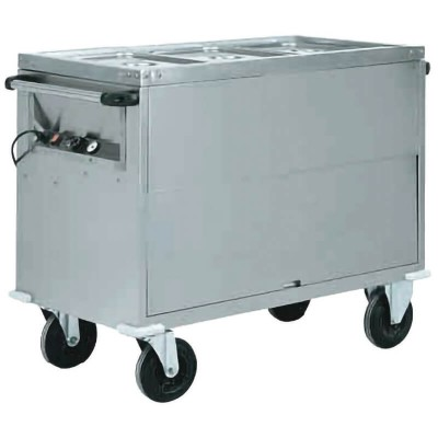 Bain-marie trolley with completely stainless steel structure and differentiated temperature. Series: CT - Forcar