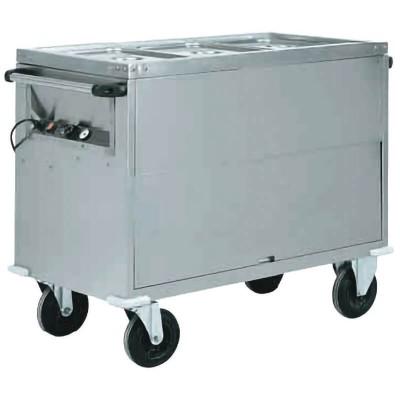 Carrello armadiato a bagnomaria con struttura completamente in acciaio inox temperatura differenziata. Serie: CT - Forcar