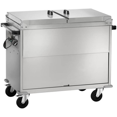 Stainless steel bain-marie trolley with differentiated temperature and lid. Series: CT - Forcar