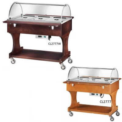 Bain-marie display trolley with plexiglass dome, wooden structure and floor above the dome. - Forcar