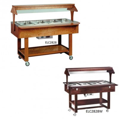Bain-marie display trolley with wooden and neon structure. Model: ELC2828 - Forcar