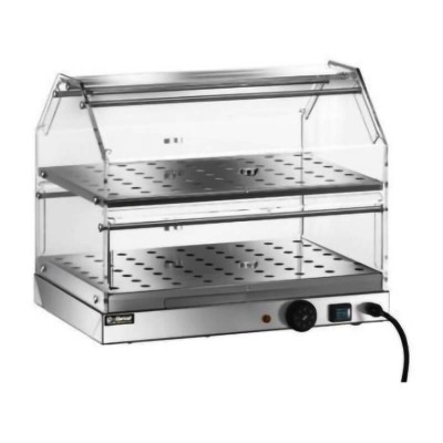 Vetrina riscaldata ad due piani, struttura in acciaio inox e plexiglass - Forcar