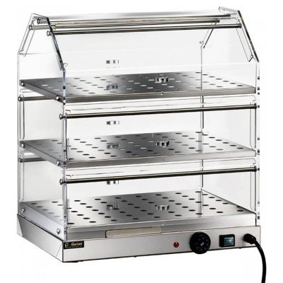 Vetrina riscaldata a tre piani, struttura in acciaio inox e plexiglass - Forcar