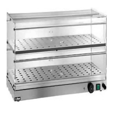 Vetrina riscaldata ad due piani, struttura squadrata in acciaio inox e plexiglass - Forcar