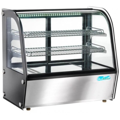 Heated showcase in steel and ventilated glass.
