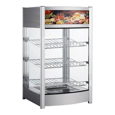 Heated display case in stainless steel with 3 floors - Forcar