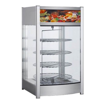 Stainless steel heated display case with 4 round rotating shelves. Model: RTR97L2 - Forcar